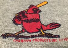 Vintage 1987's Cardinals Champion Brand Gray Color 12% Rayon T Shirt. Size Xl