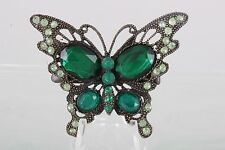 GREEN CLEAR CRYSTALS BUTTERFLY BROOCH/ HAIRCLIP FASHION 4489B