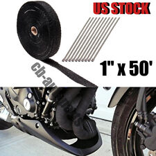 "Black Exhaust/Header Heat Wrap, 1"" x 50' Roll With Stainless Ties Kit"