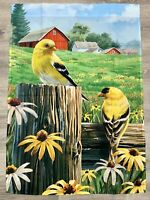 NEW ~ 28 x 40 Outdoor Flag Double Sided Spring Yellow Finch Sunflowers Red Barn