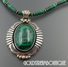 JIM YAZZIE NAVAJO STERLING SILVER MALACHITE TUBE BEADED SOUTHWESTERN NECKLACE