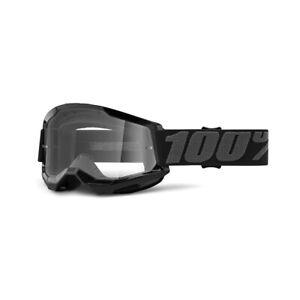 100 Percent Strata 2 Black Clear Lens Motocross Goggles