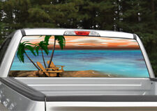 Beach Scene #5 Palm Trees Rear Window Decal Graphic for Truck SUV
