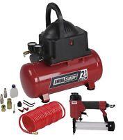 2 Gallon Electric Air Compressor Combo Kit Portable Stapler Nailer Gun Hose Set