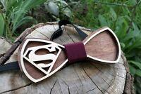 3D Wooden bow tie wood gift for men Wedding Superman Comics Handmade Groomsmen