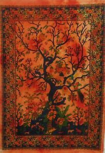 TAPESTRY THROW Ethnic Decorative BOHO Orange Tree Of Life Wall Hanging Poster