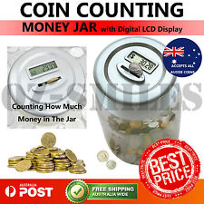 Aussie Coin Counting Money Jar Digital LCD Display OZ Coins Piggy Bank Box
