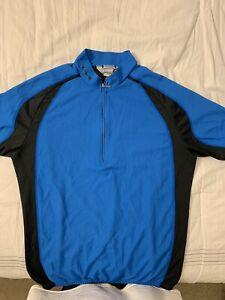 SUGOI 1/4 Zip CYCLING BIKE JERSEY Men's  Blue Black Mesh Sugoi Blend Sz Medium