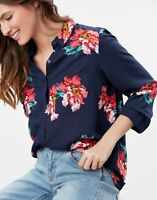 Joules Womens Elvina Button Front Woven Top - Navy Peony