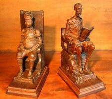 DON QUIXOTE & SANCHO PANZA BLACK FOREST CARVED WOOD BOOKENDS ANTIQUE