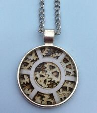 Quirky Pendant Necklace Jewellery Xmas Cute Free Gift Bag Silver Plated Cogs