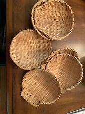 6 Woven Wicker Serving Shell Basket Trays
