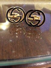 MENS Gucci Cufflinks GG Logo Interlocking G New Gold plated Msrp $380 Dustbag