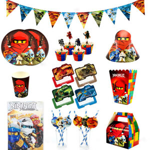 Ninjago Party Tableware Birthday Decoration Supplies Plates Cups Flag Cloth Gift
