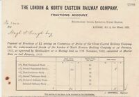 The London & North Eastern Railway Company 1923 Fractions Account Receipt  39752