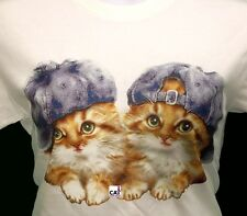 Tabby Cat - Kitten Shirt, Cuddly Kittens In Glitter Baseball Caps, Small - 5X