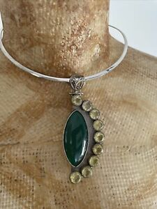 Gorgeous Green Agate Stone & Citrine Crystal Sterling Silver Choker Necklace