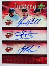 Joe Mauer Jason Kubel Boof Bonser 2006 UD Future Stars Autograph Minnesota Twins