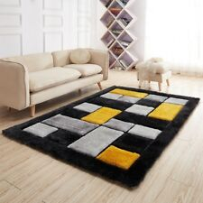 Luxurious Thick Pile Rug Modern Soft Silky Contemporary Shaggy Rugs Mats UK Black Grey Pebbles 90x150cm (3x5')