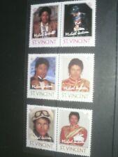 Michael Jackson St Vincent Memorial Postage Stamps - 6 different 60c / $2 / $5