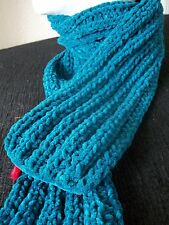 Hand knitted warm fashion suede scarf, teal