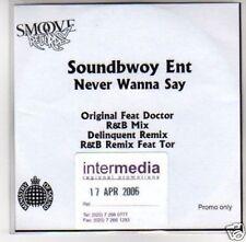 (D803) Soundbwoy Ent, Never Wanna Say - DJ CD