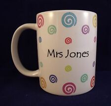 Personalised Coloured Swirls - Coffee Mug - Thank You Teacher - Birthday - Gift
