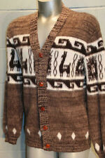 S~M VTG 60s BROWN SHAGGY KNIT CARDIGAN MENS ETHNIC LLAMA HIPPIE HIPSTER SWEATER