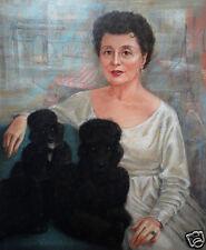 Exceptional Mid-Century Original Pastel Signed Portrait Painting w/2 Dogs c.1956