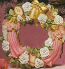 "Ceramic Bisque Ready to Paint Angel Wreath 16"" diameter"