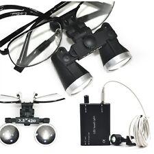 Dental Surgical Loupes 3.5X 420mm Optical Glass metal frame+LED head lamp light