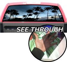 P43 Palm Trees Beach Rear Window Tint Graphic Decal Wrap Back Pickup Graphics