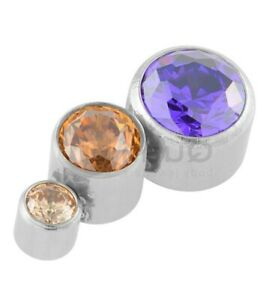 Mini 'Luna' Cubic Zirconia Crystal 3 Stone Curve Cluster Labret Earring Stud