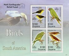 Guyana 2010 MNH Birds of South America OVPT Haiti Relief Fund 4v M/S Stamps