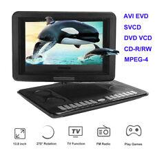 Portable 13.8'' DVD Player 270° Swivel Game TV Function USB FM AVI EVD SVCD VCD