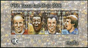 Malta Football Stamps 2006 MNH World Cup Germany Pele Bobby Charlton 4v M/S