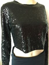 New Nicole top, blouse, black, long sleeve, polyester, size 10, M