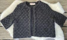 MARNI Italy Women's Gray Wool Blend Boxy Sweater Jacket Size 40 Small