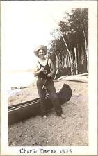 1934 Young Man Lifeguard Eats Tootsie Pop Fly Fishing Rod Canoe Lake Beach Photo