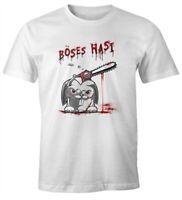 Herren T-Shirt böses Hasi Kettensäge Motiv Horror Parodie Fun-Shirt Spruch