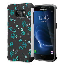 Hybrid Dual Layer Armor Case for Samsung Galaxy S7 - Paw Print Green