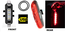 Rechargeable Front & rear 5 led light set - very bright lamp mountain road bike