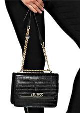 NWT GUESS MONA HANDBAG Black Crocodile Logo Crossbody Shoulder Bag GENUINE