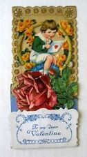 1920s Pull Down Pop Out Valentine's Day Card Display Little Girl w/ Love Letter
