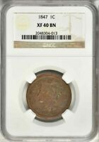 Beautiful 1847 Liberty Head Braided Hair Design Large Cent NGC Graded XF40 BN