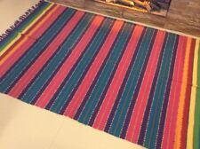 Ethnic Tribal Striped Bright Blue Pink Purple Cotton Durrie Fringe RUG 140x200cm