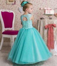Long Princess Gowns Custom Kids Flower Girl Dress Lace Wedding Party Birthday