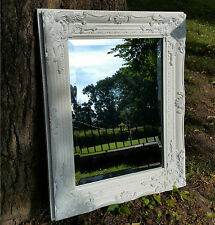 Ornate French Vintage Style shabby Chic White Wall Mirror & Bevelled Glass