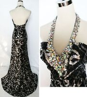 NWT NIGHT MOVES $398 Black / Silver Formal Prom Gown 6