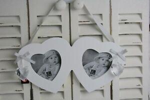 Bilderrahmen Herz Holz 2x 9x9cm weiß Foto Rahmen Liebe Deko Jolipa